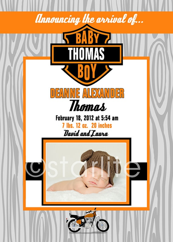 Photo Baby Birth Announcement Harley Davidson By Starwedd On Etsy, $15.00