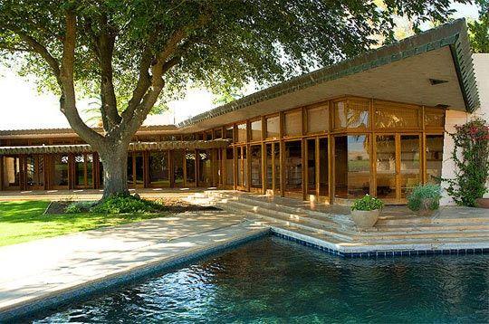 Randall Fawcett House. 1961. Los Banos, California. Usonian Style. Frank Lloyd Wright