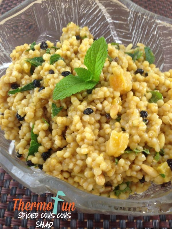 """Well half way throughsummer (although we wouldn't know it was summer today in Sydney!) I thought I'd better get a few salad recipes published! I love pearl cous cous much more than the normal cous cous. I had another ThermoFun member test this recipe out for me but she didn't read the word """"pearl"""" and …"""