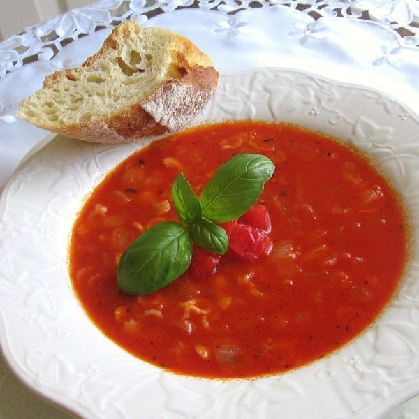 This Hungarian fresh tomato soup or paradicsomleves is a good way to use an abundance of garden tomatoes.