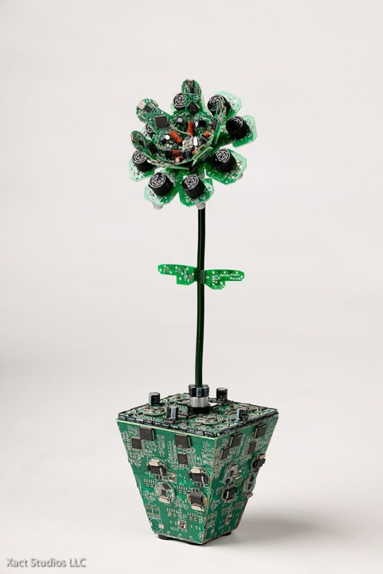 PCB recycling to another level,  a series of sculptures made entirely from circuit boards and other electronic parts.