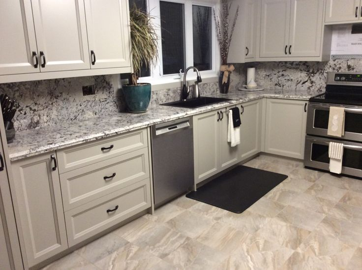 Mystic Spring Granite Taupe Painted Cabinets Black Matte