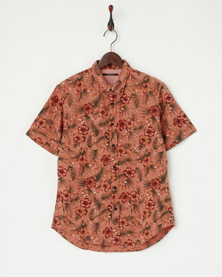 AMERICAN RAG CIE MEN オレンジ  トロピカル柄リネン混半袖シャツ