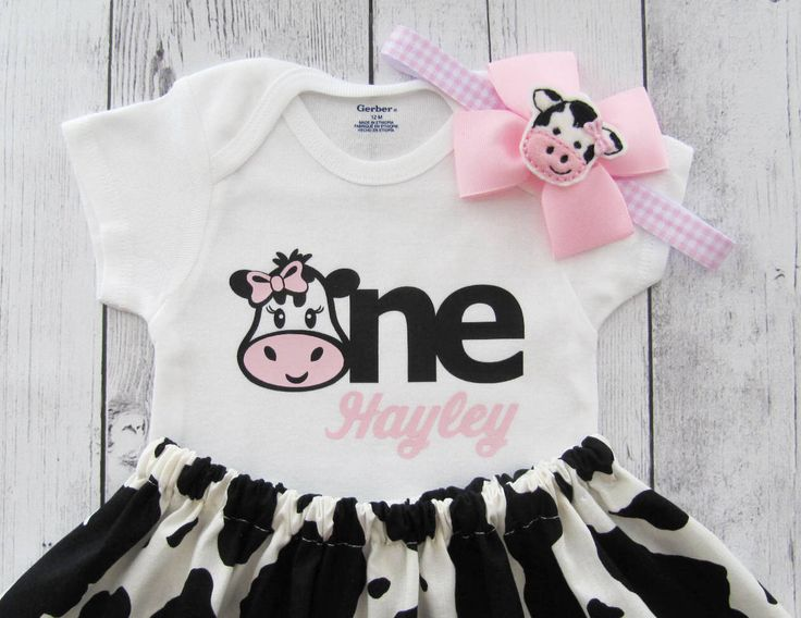First Birthday Outfit in Cow print and Pink Gingham - onesie and skirt, girl birthday outfit, cowgirl, farm animal, personalized, barnyard by noellebydesign on Etsy https://www.etsy.com/listing/268466499/first-birthday-outfit-in-cow-print-and