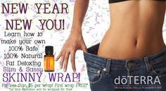 Skinny wrap using doTERRA's Slim & Sassy. You only need 3 things: slim and sassy, an oil (like coconut oil, olive oil, avocado oil), and plastic wrap! One lady lost 4 inches!