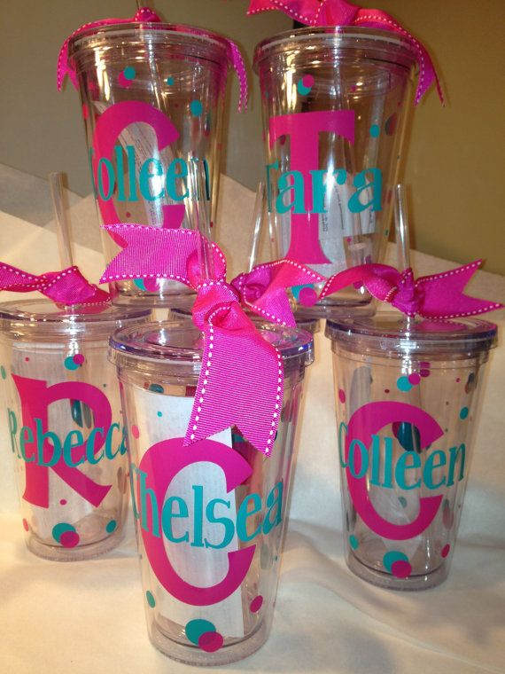 Personalized Decorated Tumblers w/Straw BPA Free  Bacherlorette, Birthday, CHeer. Coach on Etsy, $10.00