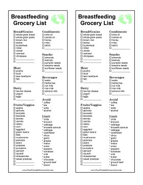This breastfeeding grocery list for new mothers includes recommended foods and those to avoid. Consult a doctor for advice specific to your situation. Free to download and print