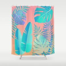 Tropics ( monstera and banana leaf pattern ) Shower Curtain