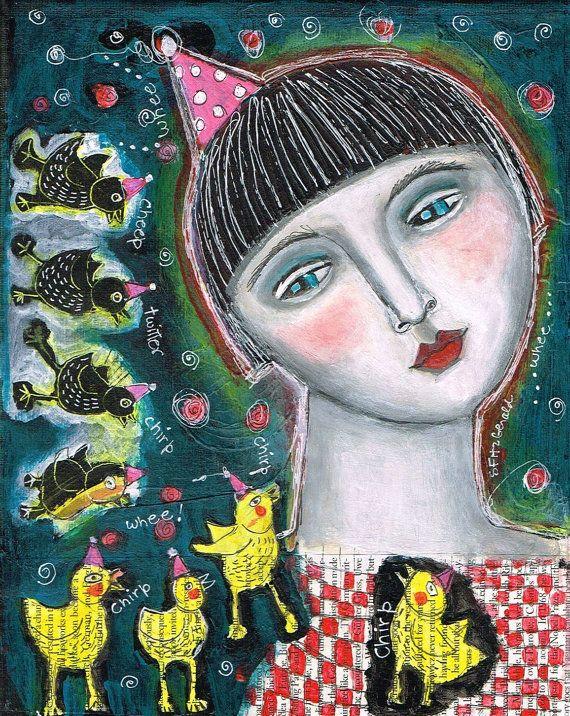 Mixed Media Painting Print  Modern Folk Art  by kittyjujube, $6.00