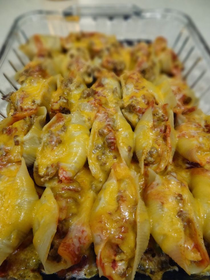 Mexican Stuffed Shells ~ Made with ground beef, taco seasoning, cream cheese, jumbo pasta shells, Monterey and cheddar cheeses and a few other ingredients.