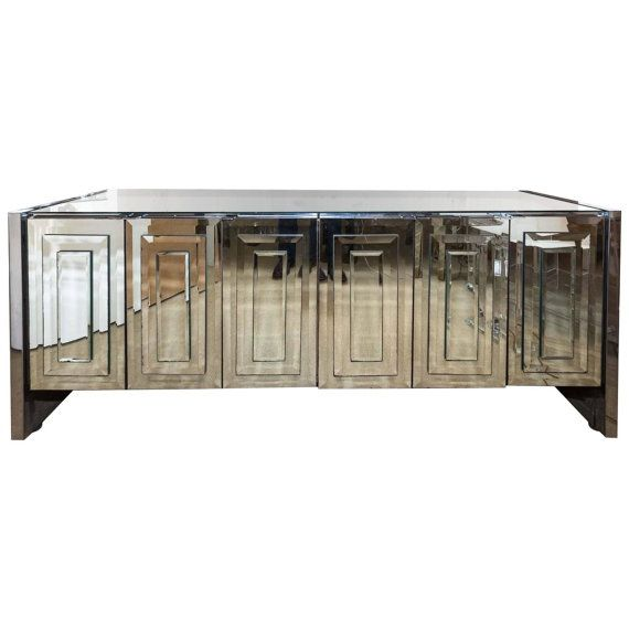 SOLD Ello Mirrored Console Mirror Cabinet Credenza by DejaVuDecors