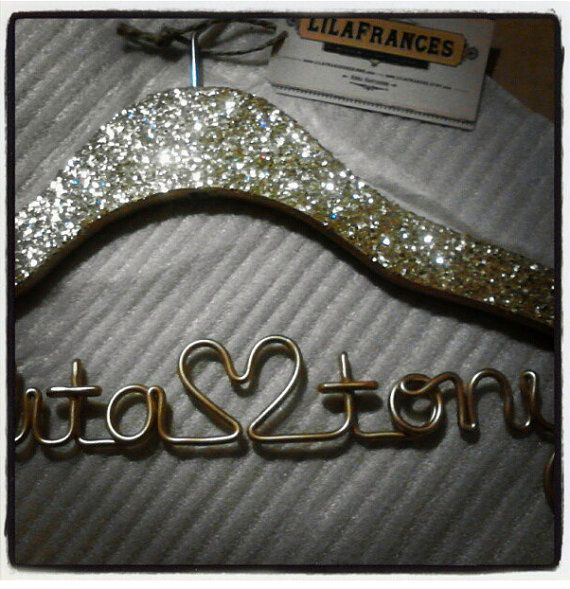 Gatsby Themed Sparkle Wedding Hanger, Personalized, Custom Hanger, Bride Hanger, Name Hanger, Bridal Gift, Glitter Wood via Etsy