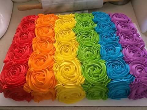 rainbow swirl roses cake