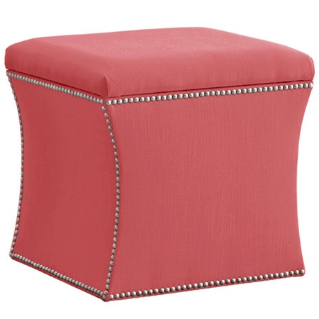 I pinned this Newton Storage Ottoman in Coral from the Worldly & Wise event  at Joss - Liczba Najlepszych Obrazów Na Temat: Home Office Ideas Na