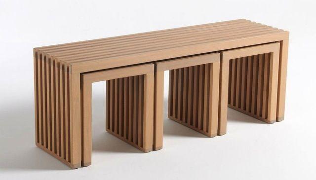 banc de jardin et tabouret en bois   Garden furniture sets ...