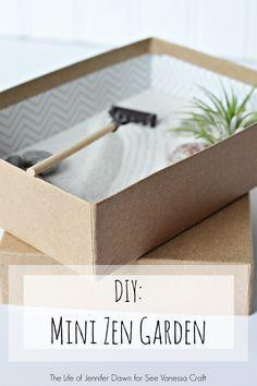 DIY Mini Zen Garden in a Box--perfect for a desk or tabletop!