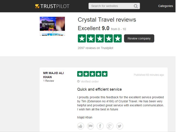 """Crystal Travel is rated """"Excellent"""" with 9.0 / 10 on #Trustpilot #CrystaltravelComplaints #CrystaltravelReviews #CrystaltravelFeedback"""