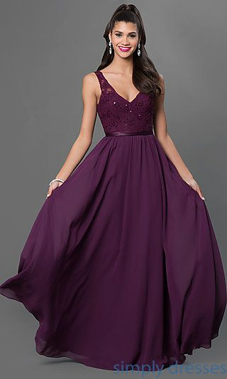 Shop long purple prom dresses and ball gowns at Simply Dresses. Long homecoming gowns and v-neck lace-bodice wedding-guest dresses.