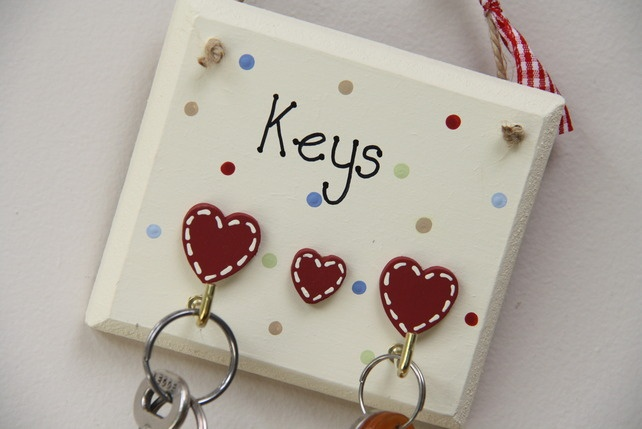 Handmade Key Holder in cream with two hooks £6.95