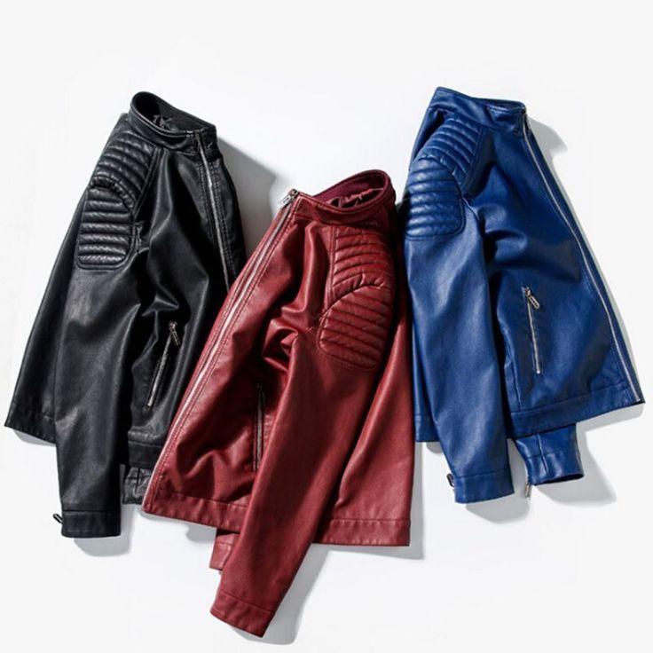 Mandarin Collar Fashion Navy Blue Black Burgundy Red Biker Jacket Male Pu Motorcycle Leather Jacket Men Short Slim Fit Zipper Up