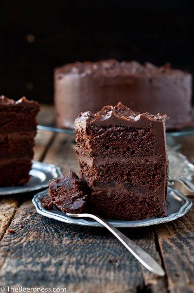 Chocolate Stout Cake with Chocolate Bourbon Sour Cream Frosting