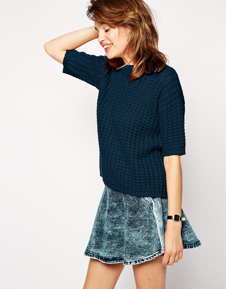ASOS Jumper In Stitch With Half Sleeve