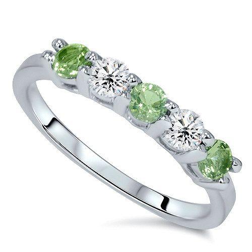 peridot diamond 55ct 5 stone wedding ring by pompeii3 on etsy 27999