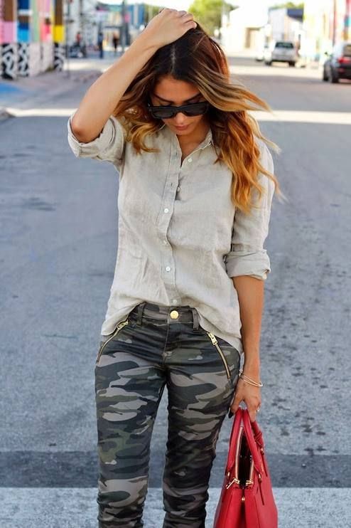 Camouflage jeans and linen shirt .. Perfect for casual wear