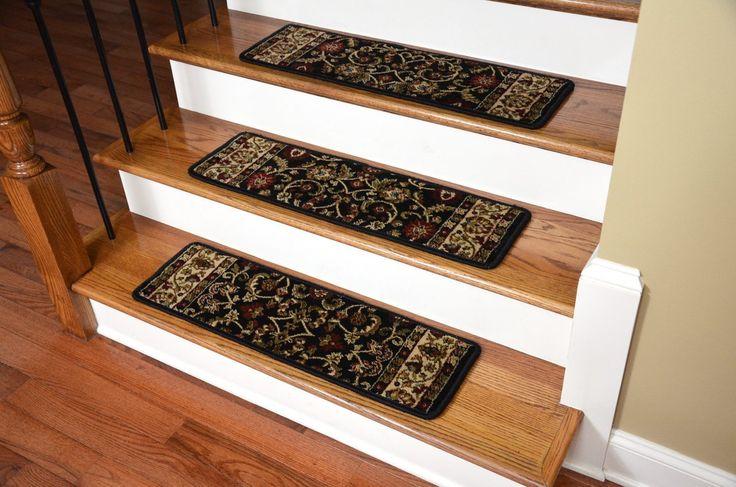 """Dean Non-Slip Tape Free Pet Friendly Stair Gripper Carpet Stair Treads - Classic Keshan Ebony 31""""W (15) - Dean Stair Treads"""