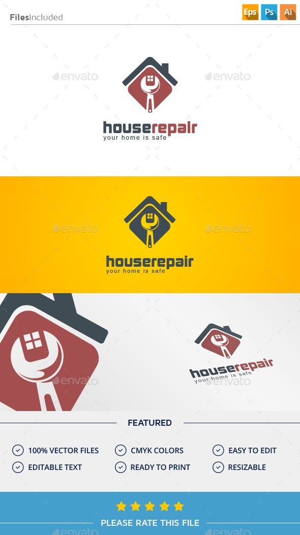 House  Logo Design Template Vector #logotype Download it here:  http://graphicriver.net/item/house-logo/11375388?s_rank=1761?ref=nesto