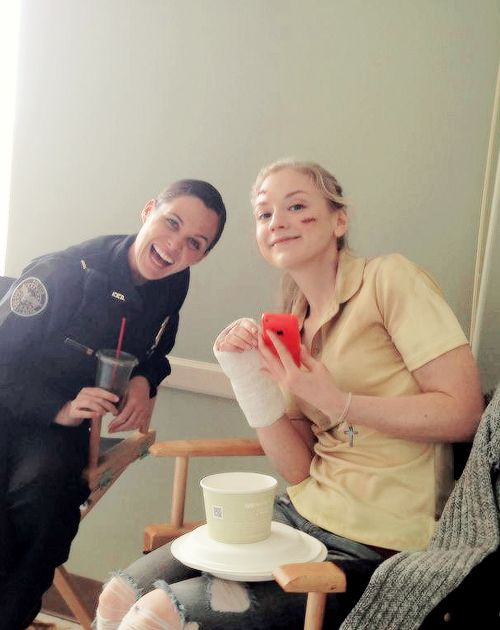 Cast members @emmykinney and @ismisswoods taking a break during filming of #TheWalkingDead