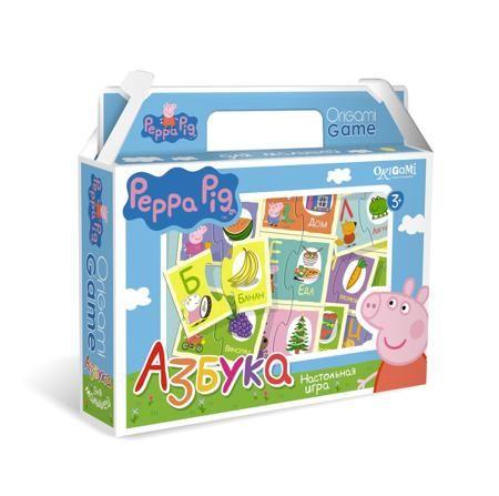 """Азбука  — 159 руб.  —  Настольная обучающая игра Origami """"Свинка Пеппа. Азбука"""". Увлекательная настольная игра """"Азбука"""" познакомит ребенка с буквами русского алфавита. В набор входят парные карточки: буква и предмет, название которого начинается с этой буквы. Все карточки снабжены пазловыми замками, поэтому ребенок не сможет совершить ошибку в решении и совместить неподходящие друг другу детали. Это игра поможет улучшить свои знания тем, кто уже знает азбуку, и научит тех, кто только…"""