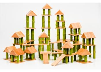 Bamboo Building Blocks 160 Pieces. The blocks come in a variety of shapes, including roofs, bridges, floors and bamboo shaped columns.