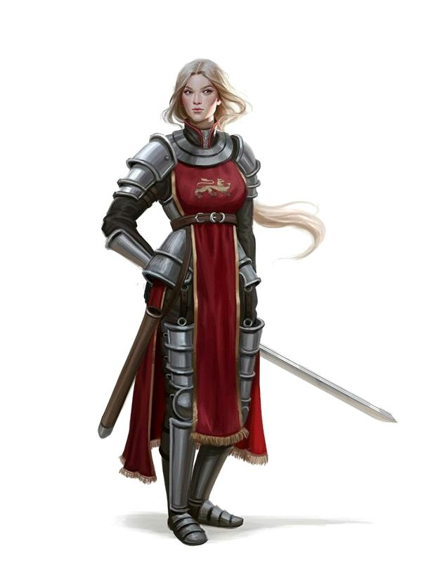 Female Fighter Knight - Pathfinder PFRPG DND D&D d20 fantasy