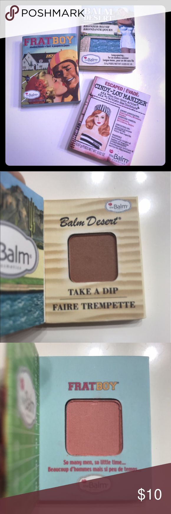 Bronzer, eyeshadow & highlighter BUNDLE Three very cute vintage boxes from The Balm  * BALM DESERT - bronzer * FRAT BOY -eyeshadow/blush * CINDY-LOU MANIZER -contour, shadow, highlighter Makeup