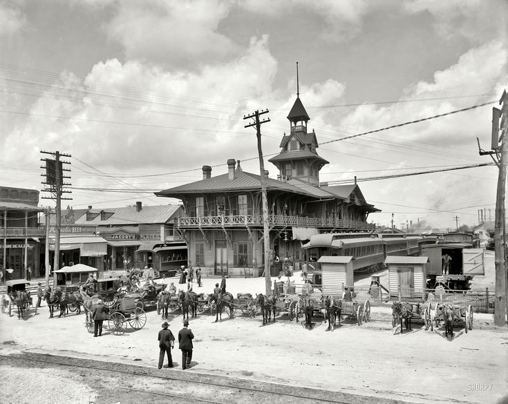 "Pensacola, Florida, circa 1910. ""Louisville and Nashville Railway station."" Where libations for the parched traveler are a mere stagger away"