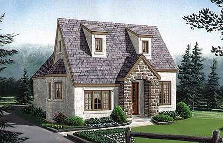 Cottage narrow lot european house plans home designs Cottage style tiny homes