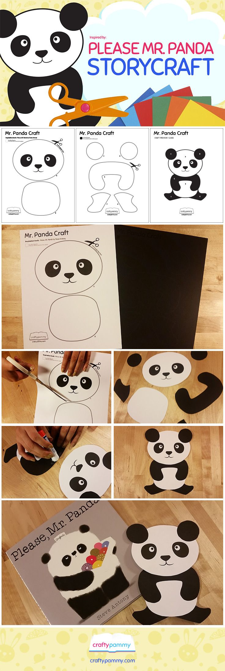 "Create a Panda craft using a free Craft template available at http://craftypammy.com/please-mr-panda-craft-template/ You can create this craft along with Steve Antony's book ""Please Mr. Panda"""