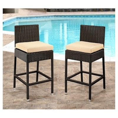 Cailen Outdoor Wicker Bar Stools with Cushions (Set of 2) - Espresso - Abbyson Living
