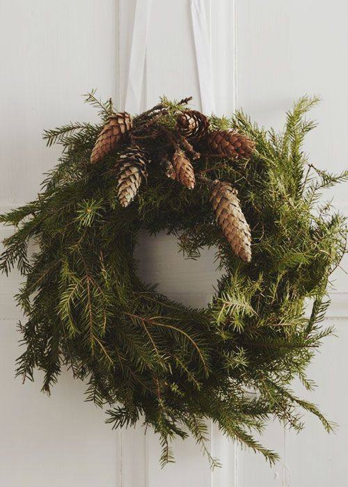 Pine cones are a wonderful addition to any Christmas wreath.