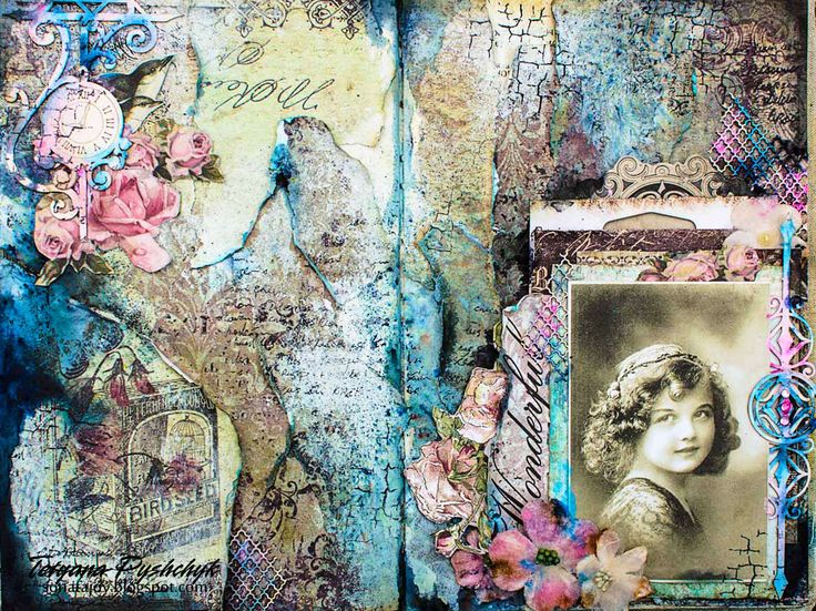 Scraps of Darkness scrapbook kits: Mixed Media Art Journal Pages Video Tutorial - Tanya SonataJoy created this stunning double art journal page spread, featuring a vintage photo, with our Feb. Heirloom kit, and did a Youtube step-by-step showing her process. Subscribe to our kits and receive a new box of mixed media scrapbooking fun delivered to you each month. www.scrapsofdarkness.com