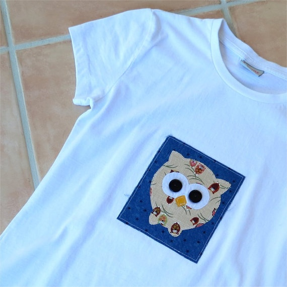 Penguin tshirt white womens slim fit applique bird by BoosTees, $18.00