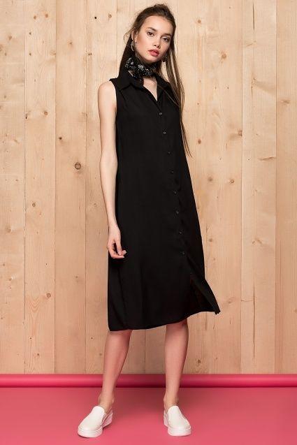 Siyah Midi Gömlek Elbise 77HK10007