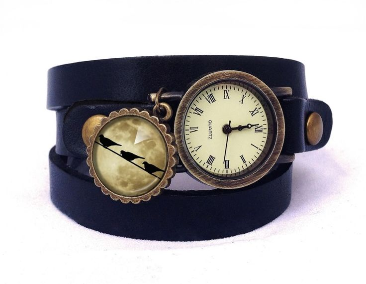 Leather watch bracelet - Birds on moon, 0466WBB from EgginEgg by DaWanda.com
