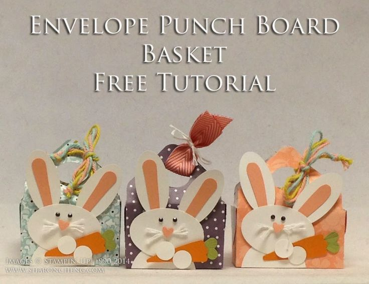 Sharon used the Envelope Punch Board to make her cute baskets. Tutorial & video. All supplies from Stampin' Up!