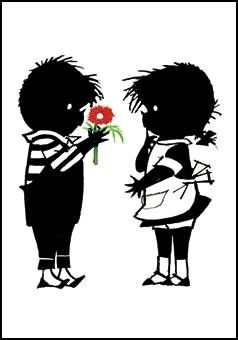 Kaart Jip geeft Janneke een bloem Ansichtkaart Jip geeft Janneke een bloem. Illustratie Fiep Westendorp.  Kinderkaart monochrome zwart-wit
