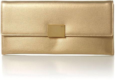 Lauren By Ralph Lauren Newbury Metallic Clutch Bag in Gold ...