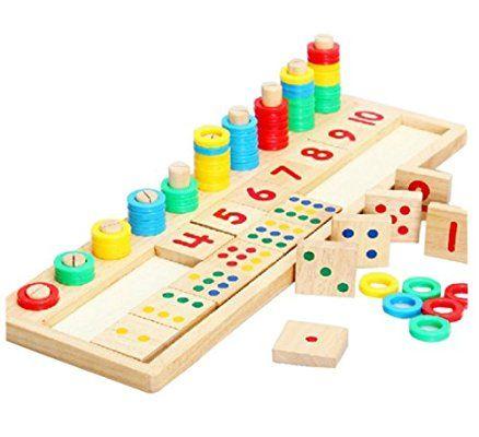 Montessori material didáctico de los niños para enseñar matemáticas rosquilla arco iris en los juguetes educativos de madera placa de reconocimiento número de calidad de los niños