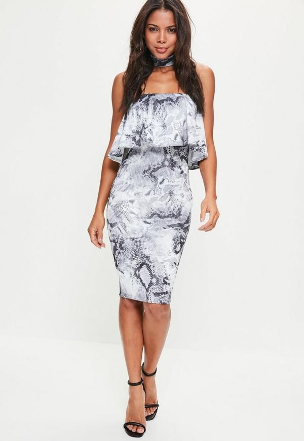 Look sassy wearing snake print in this grey midi dress - featuring a bandeau top, detachable choker neck and frill details.