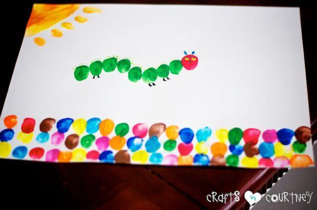 """Make """"The Very Hungry Caterpillar"""" Inspired Fingerpaint Art - Fingerprint craft for kids"""